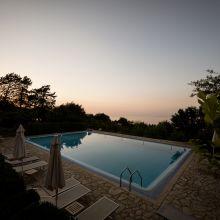 Villa Cefalù pool at sunset